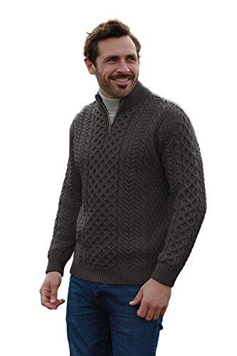 (Men's Merino Wool Aran 1/2 Zipper Sweater (X-Large, Charcoal))
