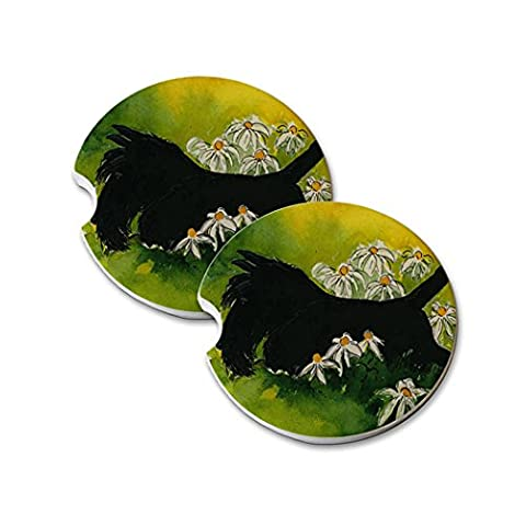 Natural Sandstone Car Drink Coasters (set of 2) - Black Scottish Terrier with Daisies Scottie Dog Art by Denise - Scottie Dog Art