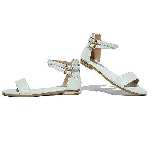 Straps Toe White Women With Sandals 533 Open Comfortable Cross Buckle TAOFFEN Flat ZInYqZP