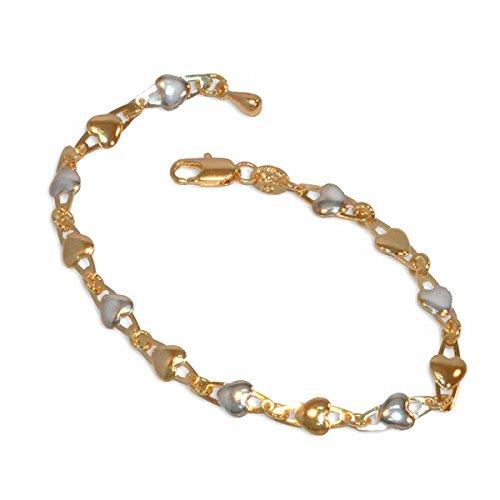 Tone Heart Link - 1-0442-e10 Two tone Heart Links Bracelet. 7.5