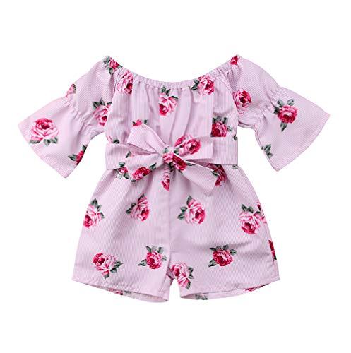 (Lzxuan Blue Floral Dress Toddler Infant Baby Girls Short Sleeve Off Shoulder Rose Blue Dress Summer Outfits Clothes (Pink Striped, 6-12 Months))