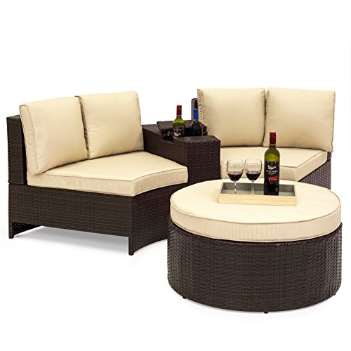 Best Choice Products Wicker Curved Corner Patio Sectional Set with Cushions and Round Ottoman Table - Tan and Brown