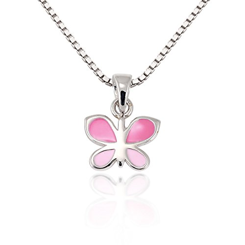 childrens-925-sterling-silver-pink-butterfly-charm-pendant-necklace-13-15-inches