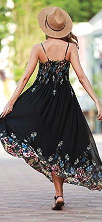 Beyove Womens Chiffon Floral Long Spaghetti Straps Maxi Dress