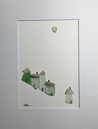 Hillside Village (Sea 3, Hillside Village, sea glass art)
