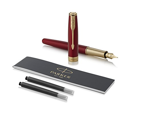 PARKER Sonnet Fountain Pen, Red Lacquer with Gold Trim, Solid 18k Gold Fine Nib