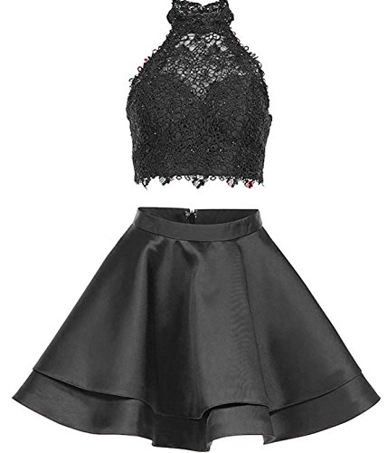 BD356 Dresses Lace BessDress High Short Neck Piece Satin Gown Two Party Homecoming Black Cocktail 7wY4qHw