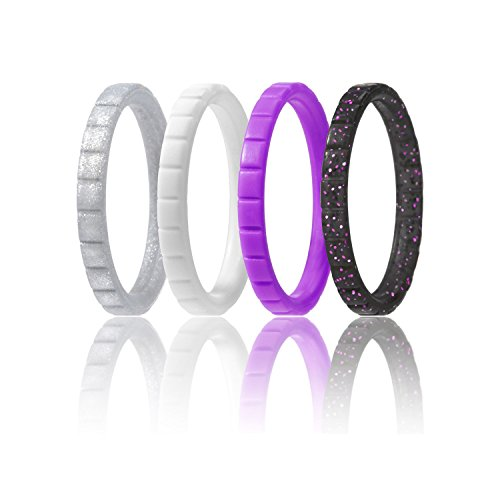 ROQ Silicone Wedding Ring For Women, Set of 4 Thin Stackable Silicone Rubber Wedding Bands - Purple, Black, Silver, White - Size 5