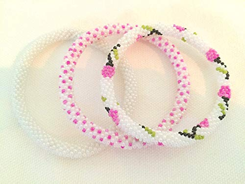 Sparkly White with Pink Flower Pattern Crocheted Seed Beads Bracelet Set, Handmade in -