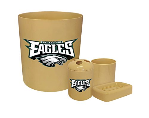 (New Plastic 4 Piece Bathroom Accessory Set in Beige Featuring The Choice of Your Favorite Football Team Logo (Eagles))