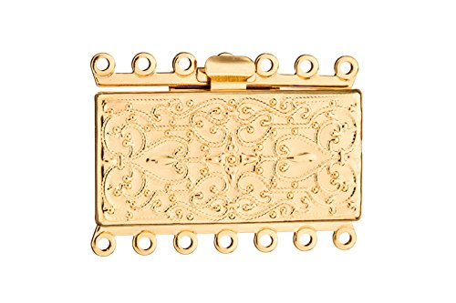 Filigree Clasp (Filigree Line Square 7 Strand Box Clasp Gold Finished Brass 27x36mm sold per pack of)