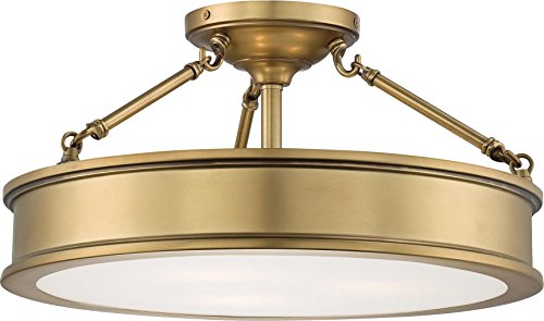 Minka Lavery Semi Flush Mount Ceiling Light 4177-249, Harbour Point Glass Lighting Fixture, 3 Light, Liberty Gold