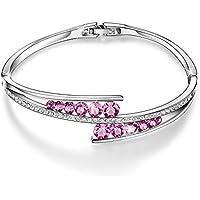 """Menton Ezil Cadeau de la Saint – Valentin """"Love Encounter"""" Bracelet Crystal Swarovski Or Blanc Plaqué Ajustable Articulé Bijoux …"""