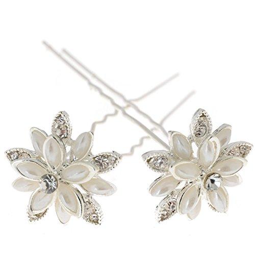 Yantu Womens Flower Hair Pins Bridal Wedding Hair Pin with Crystal (Pack of 20) (big flower 1)