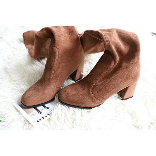 HAOLIEQUAN Les Femmes De Plus Haut du Plateforme Genou Fermeture Éclair Chaussures Plateforme du Talon Haut Carré Match Tous Les Bottes d'hiver Bottes Femmes Taille 34-43 42|Tuose 6a4af0
