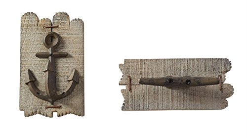 (Mud Pie Anchor and Boat Cleat Shapes on Slatted Wood Wall Hooks)