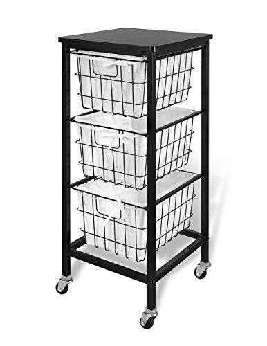 Price comparison product image Bintopia 3 Drawer Wire Storage Cart,  Espresso Top