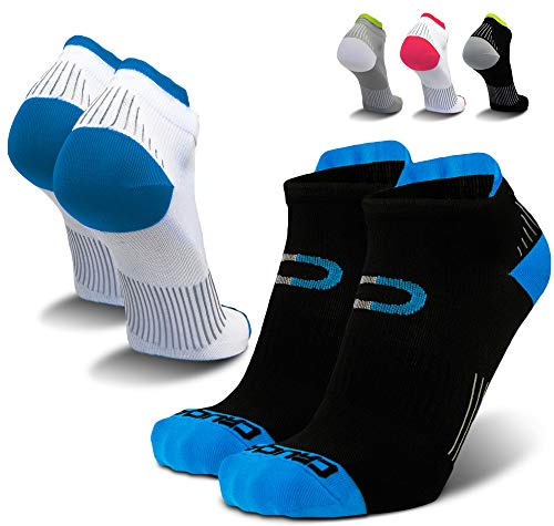 Compression Running Socks for Men & Women - Low Cut Athletic Ankle Socks (2 Pairs)
