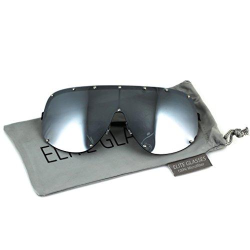 Oversized XXL Shield Wrap Big Mask Polarized Sunglasses (Silver Mirrored, - Shield Mens Sunglasses