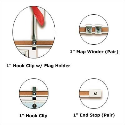 Best-Rite Map Hook for Map/Display Rail, Metal -