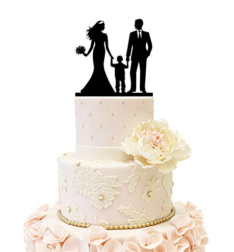 Wedding Anniverary Cake Topper couple with a Boy (One Boy (Black)) ()