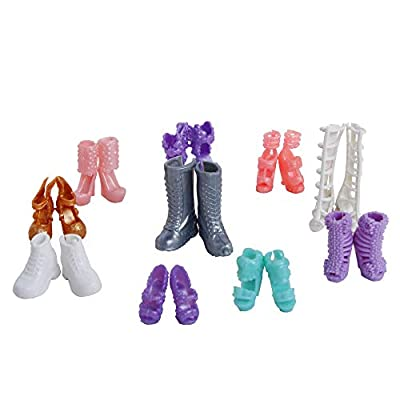 12 Pairs Doll Shoes Mix style High Heels Sandals Boots Colorful Assorted Shoes Accessories For Barbie Doll Baby DIY Toy: Beauty