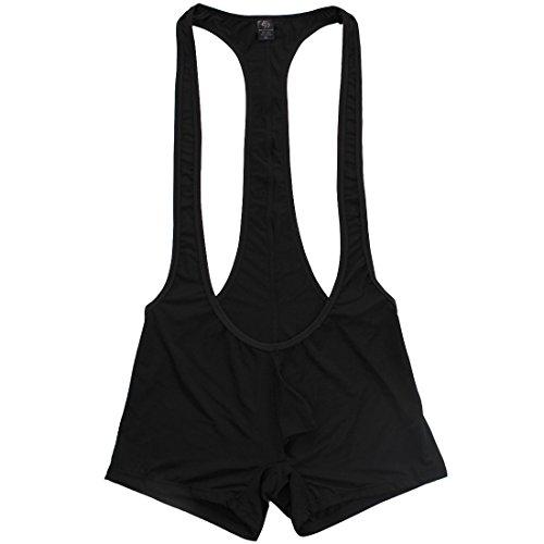 YiZYiF Men's Jockstrap Bodysuit Soft Thin Freestyle Wrestling Singlet Underwear Black X-Large
