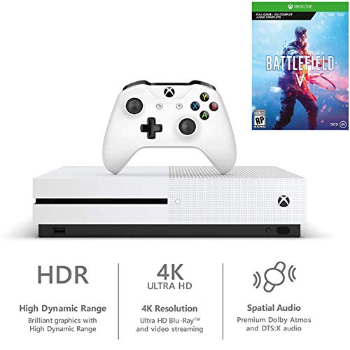 Xbox One S 1TB Battlefield V Bundle: Xbox One S 1TB Console, Wireless Controller, Battlefield V Deluxe Edition, Battlefield: 1943, Battlefield 1 Revolution, Choose Favorite Games Accessories
