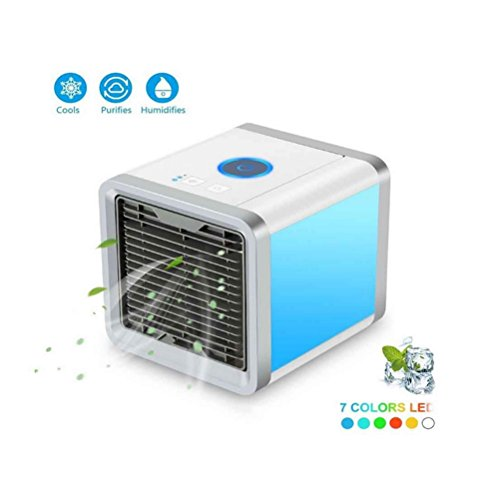 GHQ Mini Air Cooler Portable Air Conditioner Air Cooler With Water Cooling Room Dehumidifier, USB Air Conditioner Triple In Room Air Cooler, 7 Color LED Night Lights by GHQ