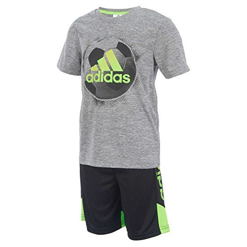adidas Boys 2 Piece T-Shirt Tee & Shorts Set Athletic Outfit Size 7 (Gray, 7) -