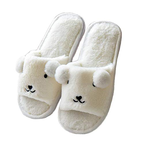 Bear Open Cute White Women's JadeRich Fleece Toe Slippers Eq1ztw