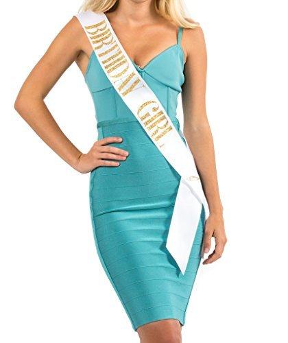 Moda Blanco Satinado Sash 'Birthday Girl' con oro Encased Glitter Lettering–18th, 21, 30th Fiesta de...