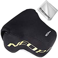 First2savvv Black Neoprene Camera Case Bag for Nikon Z7 Z6 (NIKKOR Z 24-70mm f/4 S) + Cleaning Cloth