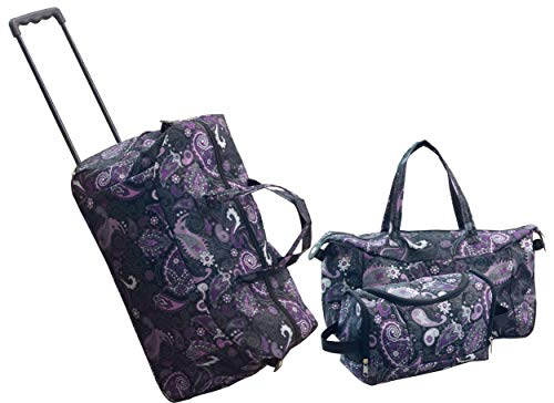 3-Pc. Geo-Circles Purple Luggage Sets (Black ()