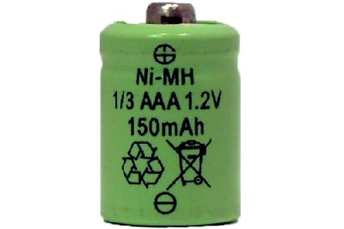 8 x 1/3 AAA 150 mAh Button Top NiMH Battery (for Solar Lights)