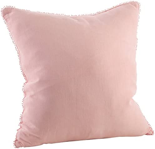 SARO LIFESTYLE Pomponin Collection Pom Linen Down-Filled Throw Pillow
