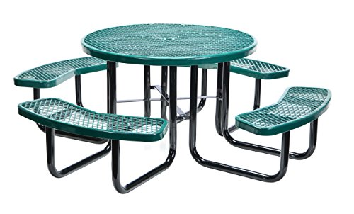 Vestil PT-MX-RT-46-GN Metal Round Picnic Table, 81-1/4