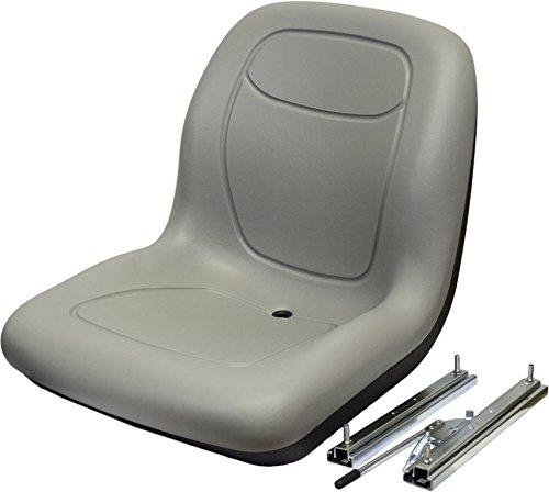 The ROP Shop New Grey HIGH Back SEAT w/Slide Track Kit for Case Loader Backhoe Made USA