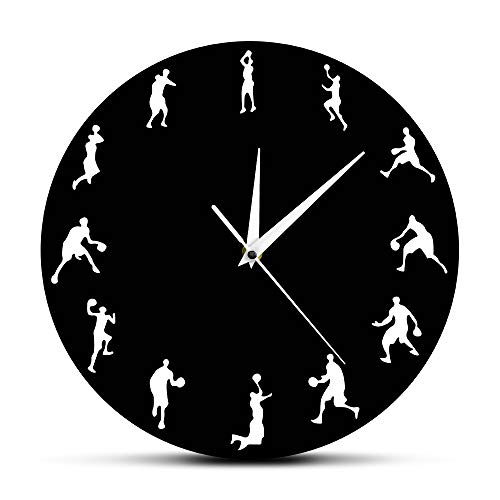 Wall Clocks Basketball Sport Game Basketball Players Minimalist Design Shooting Positions Slam Dunk Modern Basketball Gift Black Silent Sports Living Room Office Creative Gift