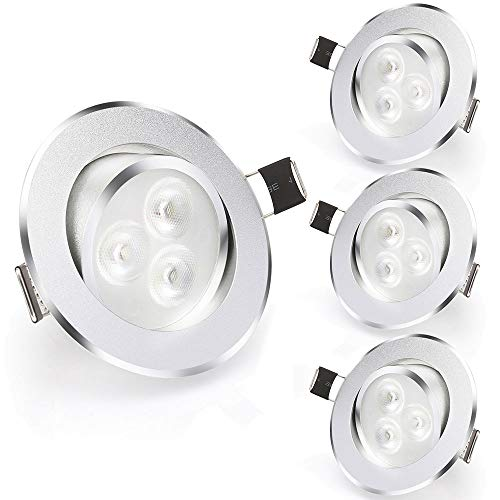 Esbaybulbs 3 Inch Downlight Gimbal Led Recessed Light 3W 6000K Daylight Ceiling Light with LED Driver(4 Pack) ()