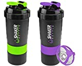 Protein Shaker Bottle - Storage 2 pack Fitness Sports Water Bottle - Non-slip 3 Layer Twist off Cups with Pill Tray - Leak Proof Shake Bottle Mixer- Protein Powder 16 oz Shakerbottle