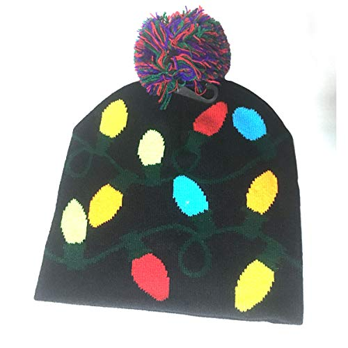 Price comparison product image Lotsa Lites! Flashing Holiday Knitted Hat Light Up Beanie (Black)