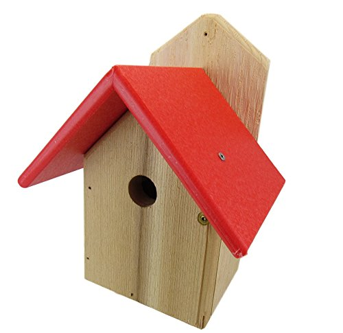 Chickadee Birdhouse, Red Recycled Poly Lumber Roof, WREN-4R (Recycled Wren House)