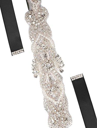 uxcell Women Rhinestone Bead Decor Satin Ribbon Wedding Belt Black