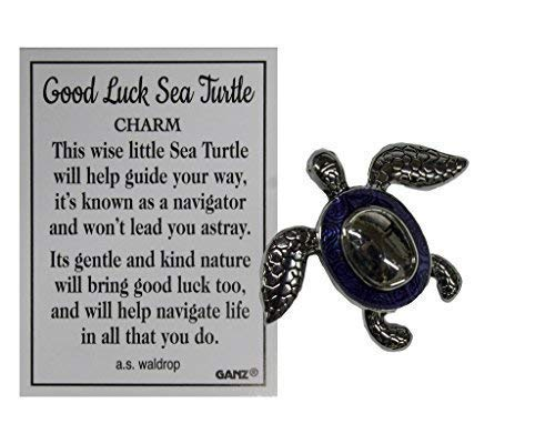 Ganz Good Luck Sea Turtle Pocket Charm with Story Card (Royal) ()