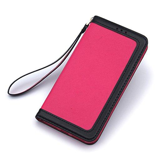 SRY-Bolsa para teléfono móvil Color mezclado que cose la cubierta horizontal de la caja del soporte del tirón del cuero de la PU del estilo para el iPhone 7/8 ( Color : Pink ) Rose