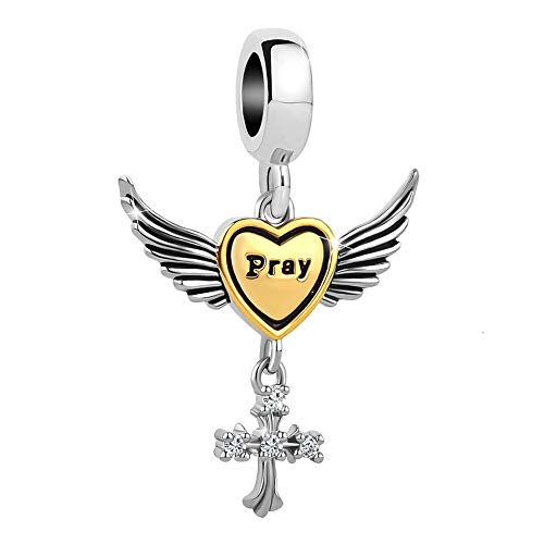 Angel Religious Charm (Charmed Craft Religious Cross Pray Charms Angel Wing Beads for Snake Chain Bracelets (Pray))