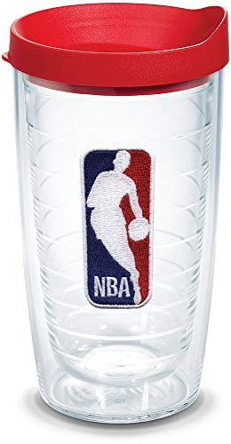 Tervis 1051614 NBA National Basketball Association Logo Tumbler with Emblem and Red Lid 16oz, Clear
