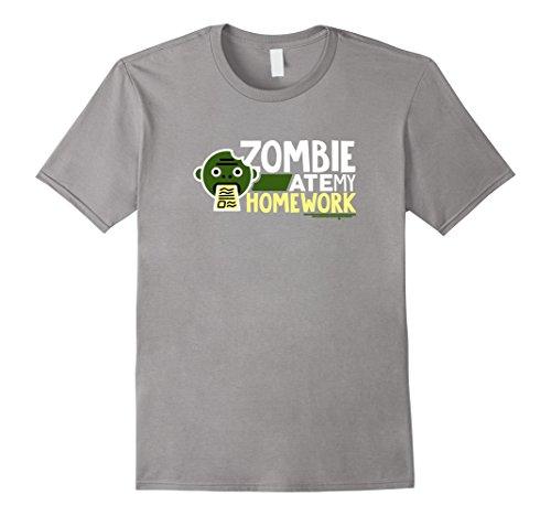 Men's Funny Zombie TShirt Zombie Ate My Homework Student College 3XL Slate (Funny College Halloween Costume Ideas Men)