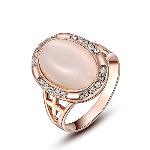- Olivefox Women's Austria Crystal Cameo Crustal With Oval Opal Cat Eye Topaz Rings 18K Rose Gold Plated Fashion Jewelry Accessories Mother's Day Gifts Wedding